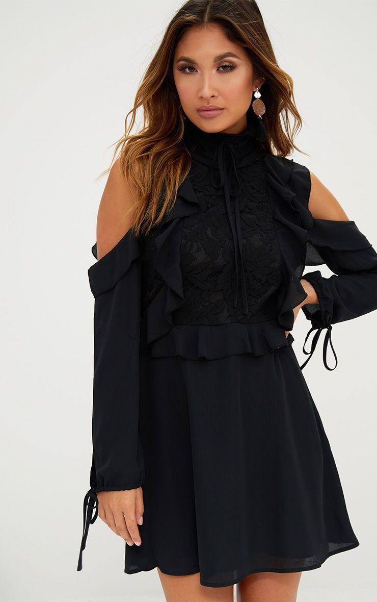 Black Cold Shoulder Ruffle Detail Lace Shift Dress