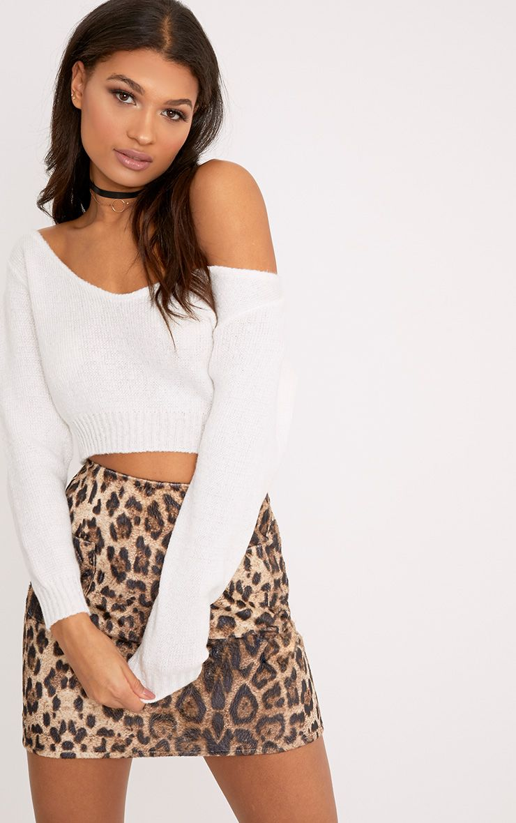 Adelaida Cream Knitted Off the Shoulder Crop