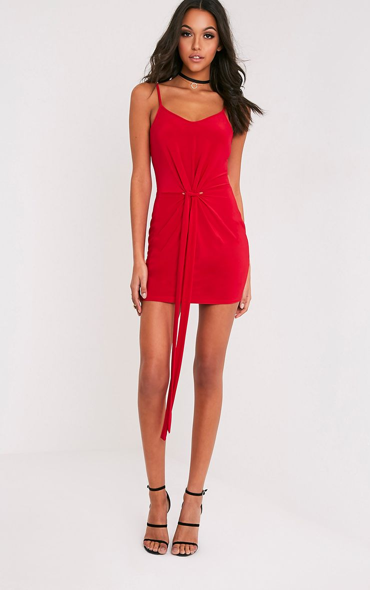 Sian Red Slinky Knot Front Bodycon Dress