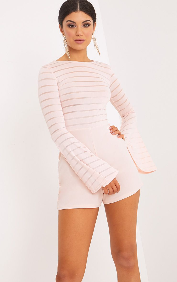 Shantall Nude Burn Out Mesh Bell Sleeve Playsuit