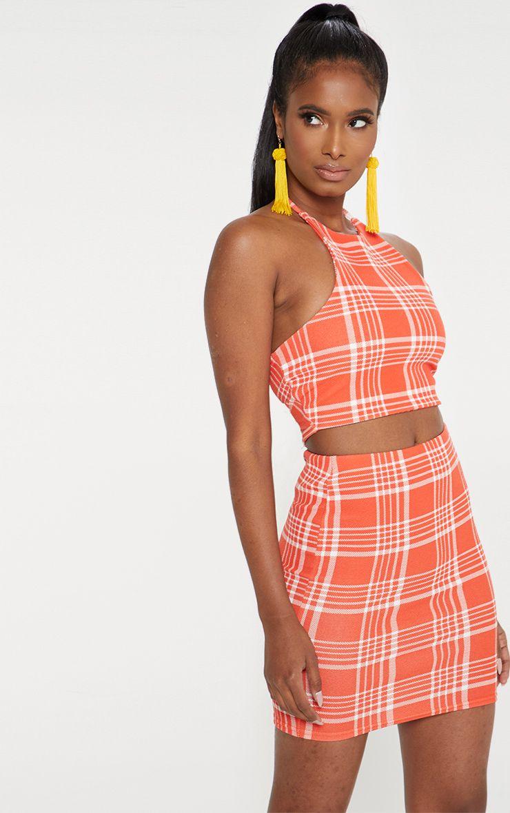 Orange Check Print Mini Skirt