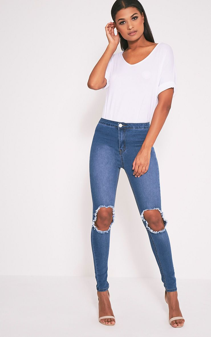 Mid Wash Open Knee Rip High Waisted Skinny Jean