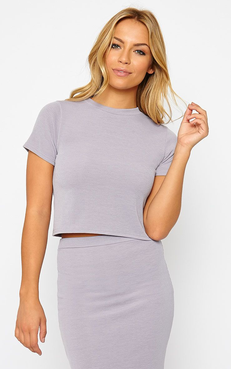 Basic Grey Short Sleeve Crop Top 1