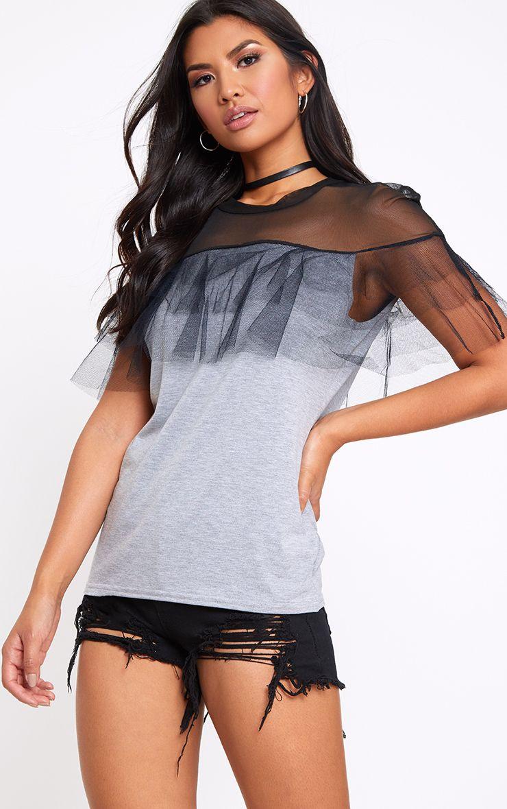 Grey Mesh Tulle Frill T Shirt