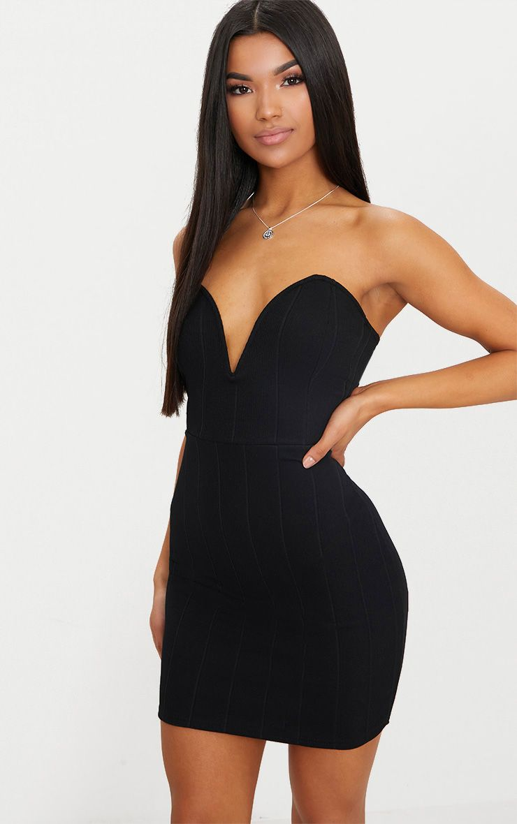 Pretty perfect embellished ruched bodycon mini dress in black boutique online venice