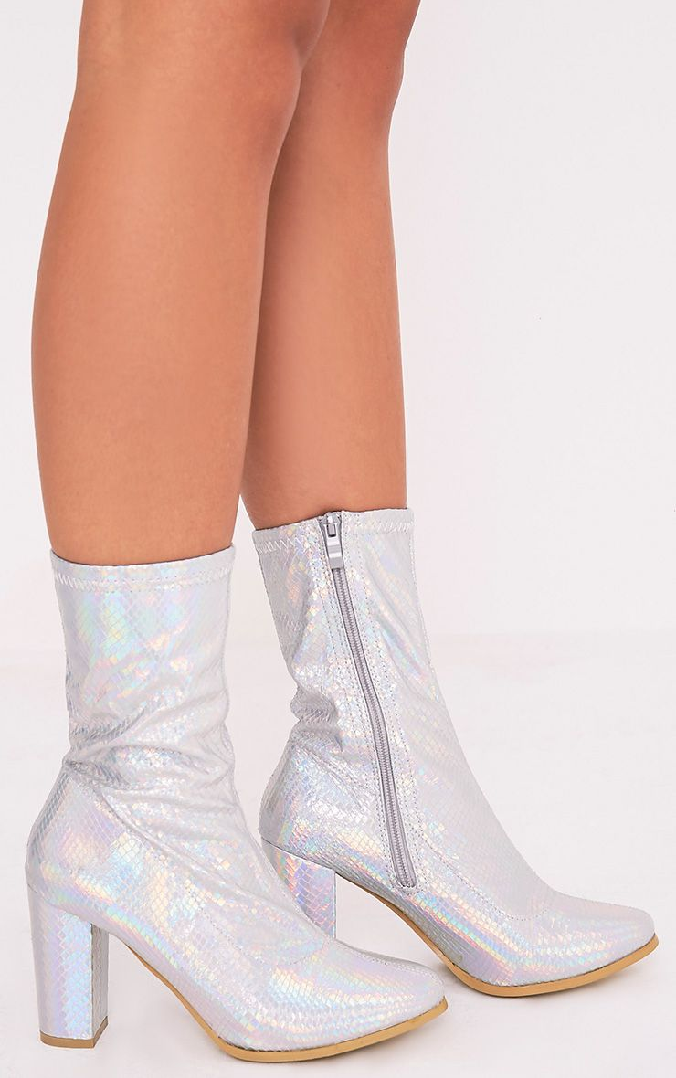 Adreena Silver Holographic Heeled Boots