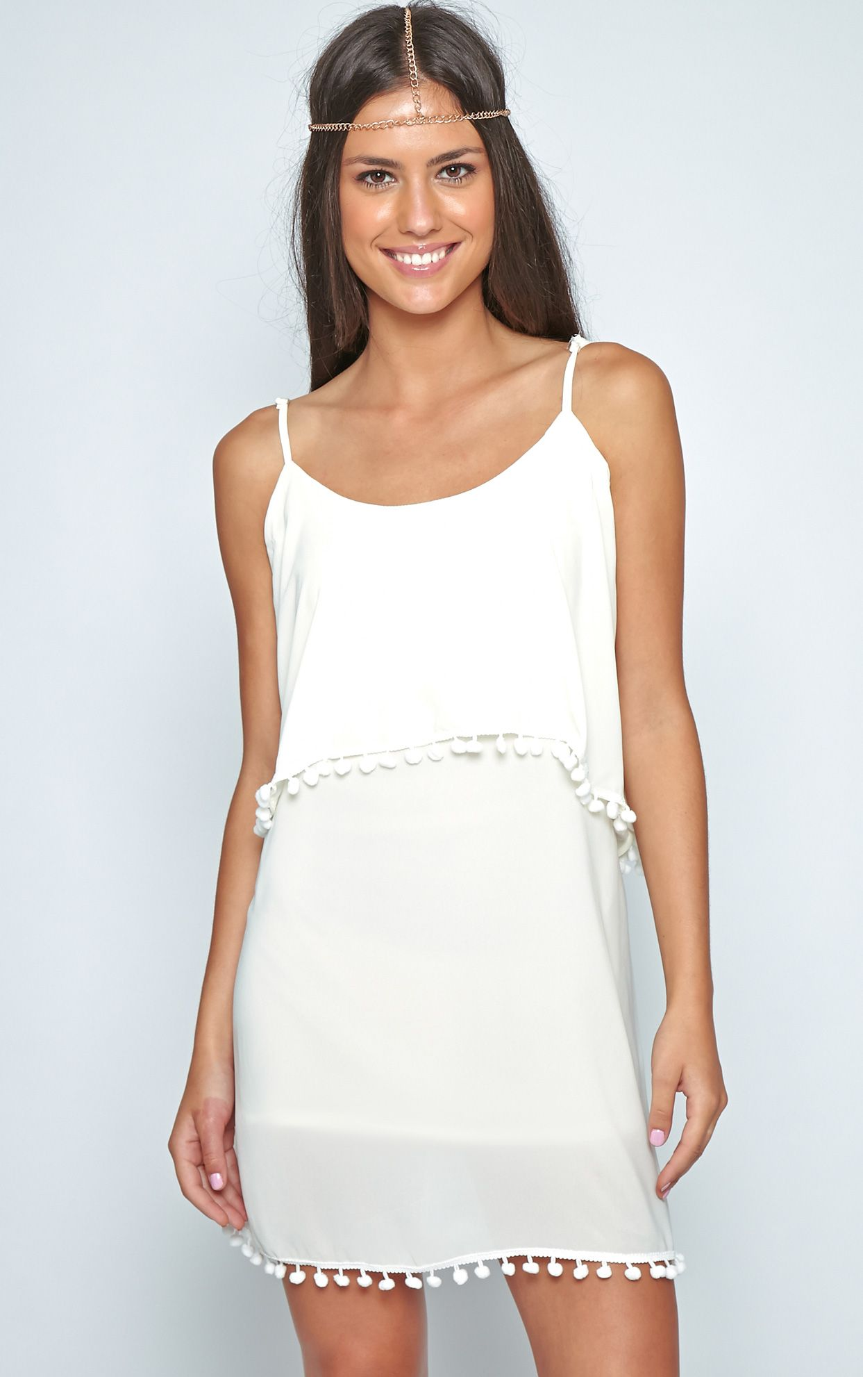 Harper Cream Pom Pom Frill Dress 1