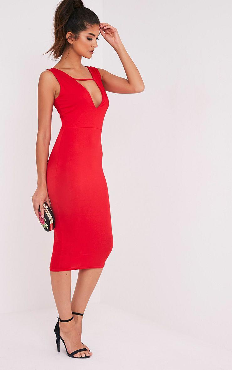 Basic robe midi plongeante à détail avec lanières rouge 4