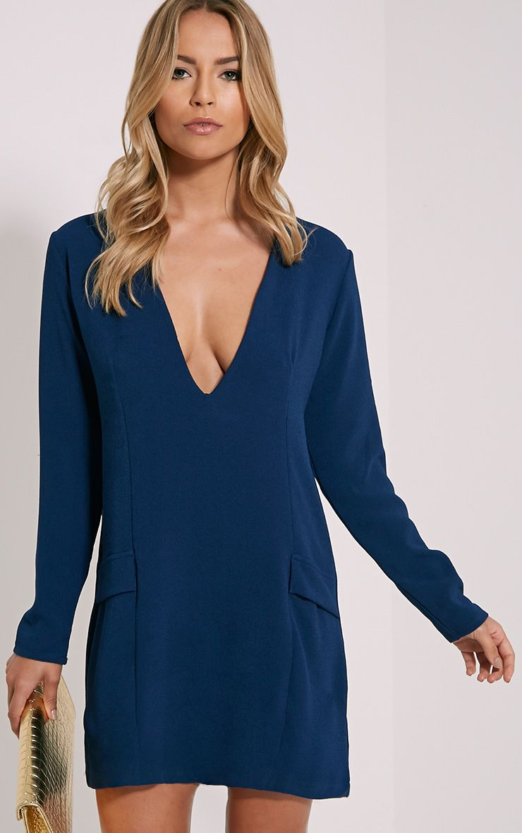 Jemima Navy Loose Fit Blazer Dress 1