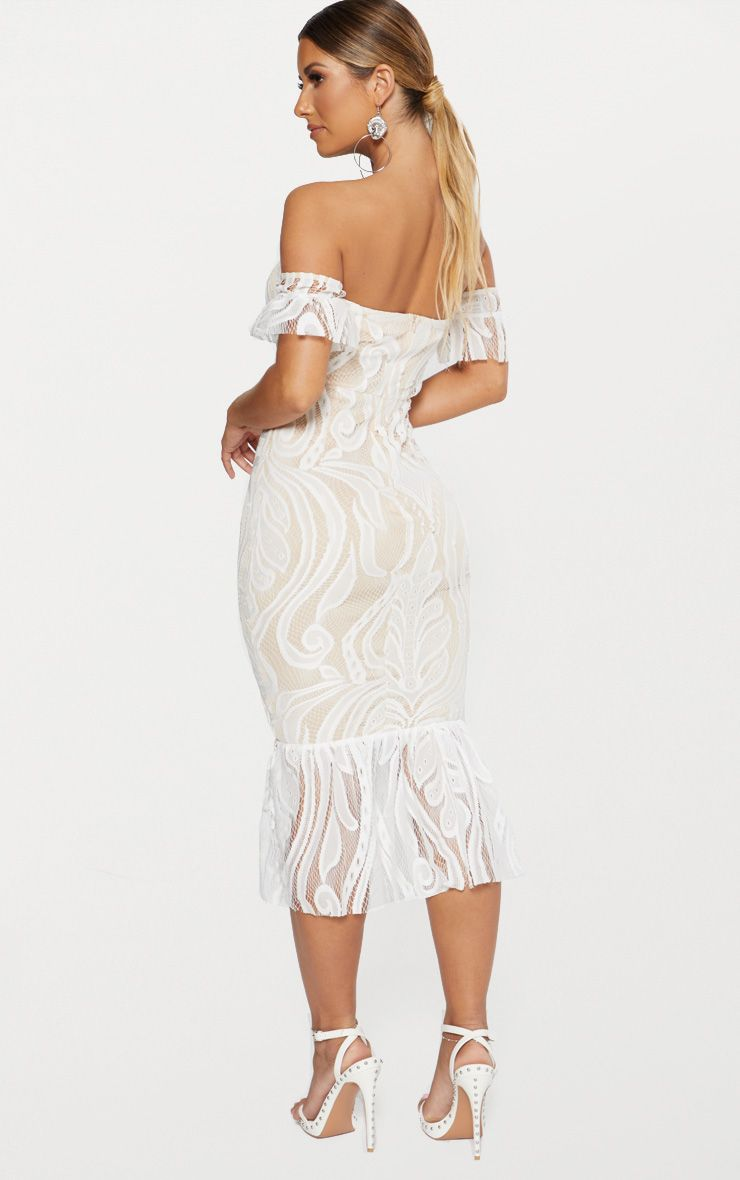 White Bardot Lace Frill Hem Midi Dress Pretty Little Thing pVyVz