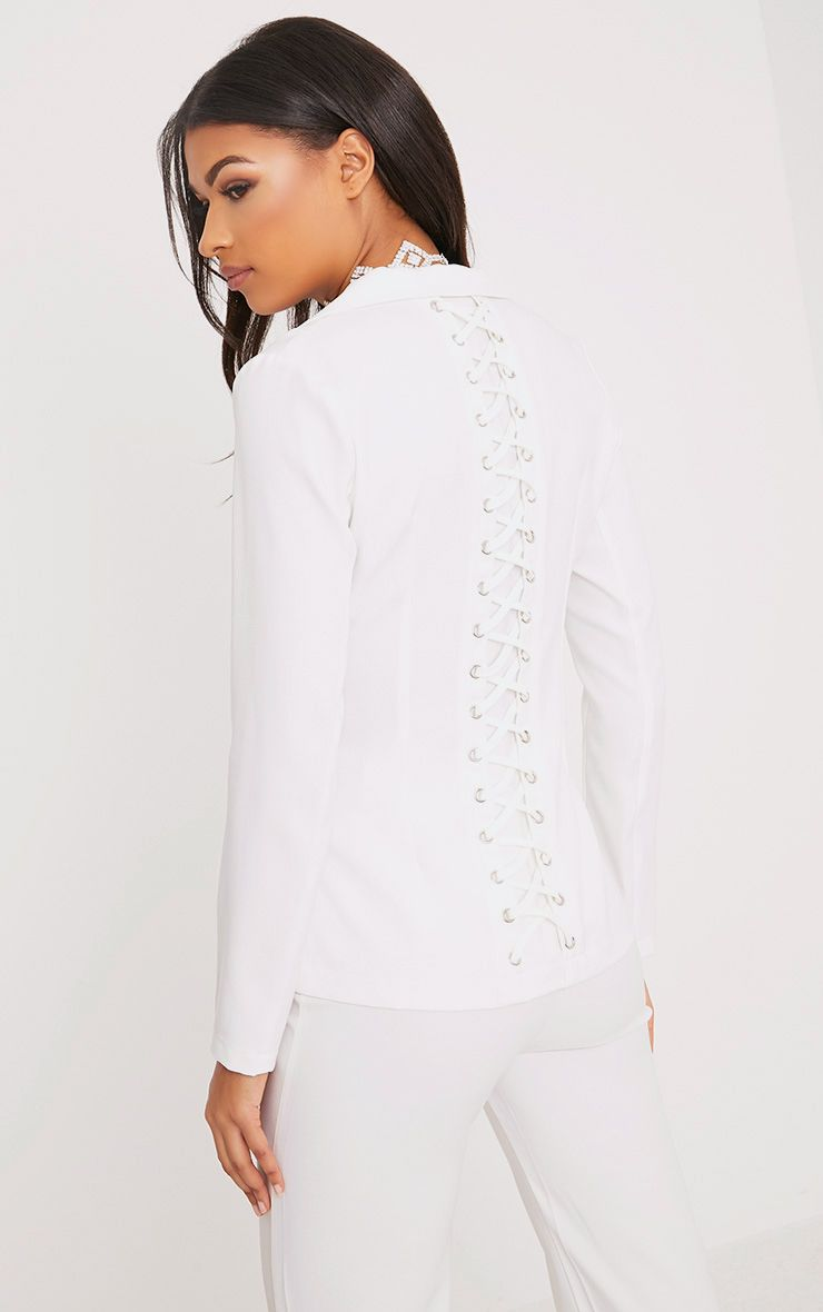 Abigale White Laced Up Detail Blazer