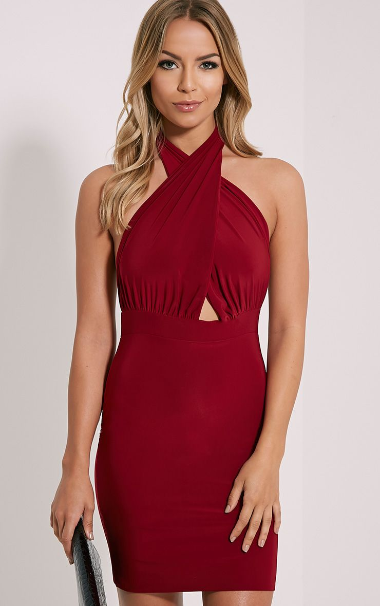 Marisa Burgundy Halterneck Mini Dress 1