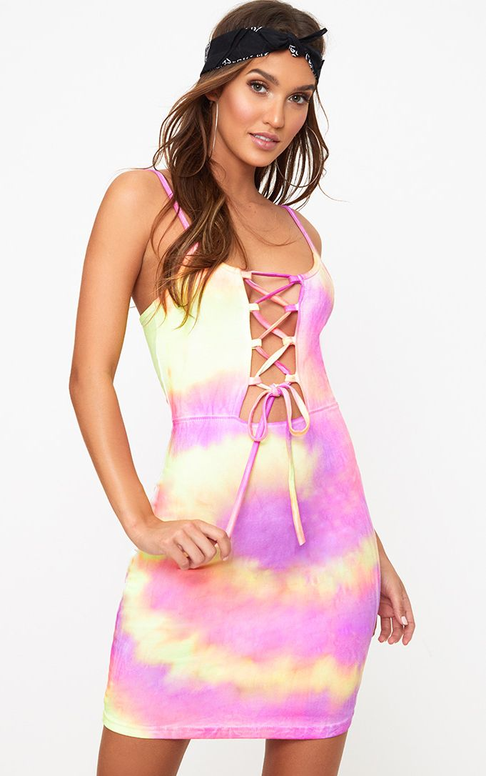 Multi Tie Dye Lace Up Bodycon Dress