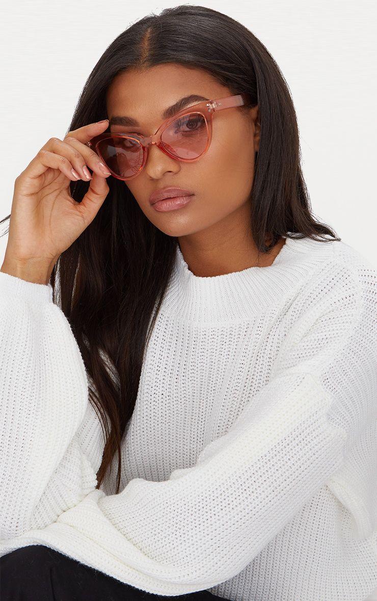 Orange Acrylic Cat Eye Sunglasses