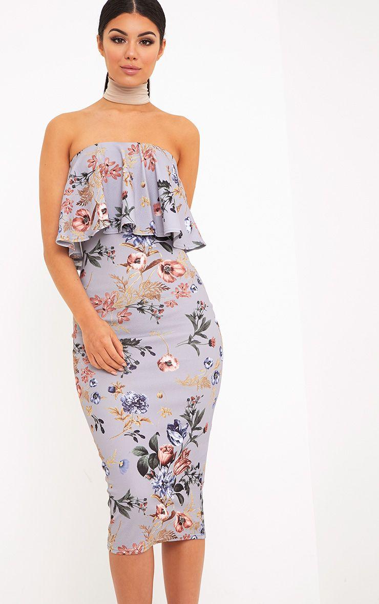 Santia Grey Floral Print Bandeau Frill Midi Dress