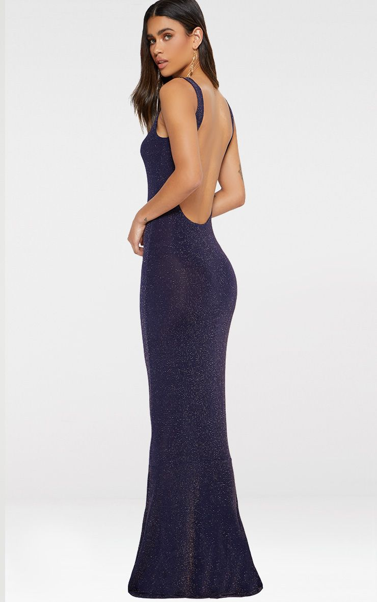 Navy Backless Glitter Fishtail Maxi Dress