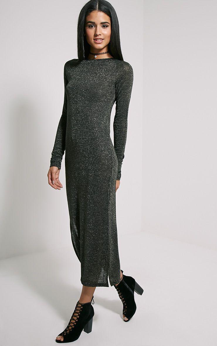 Ivria Black Side Split Knitted Dress 1