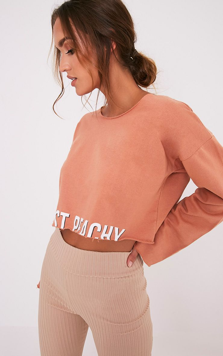 Sweat-shirt court pêche foncé à slogan JUST PEACHY 4