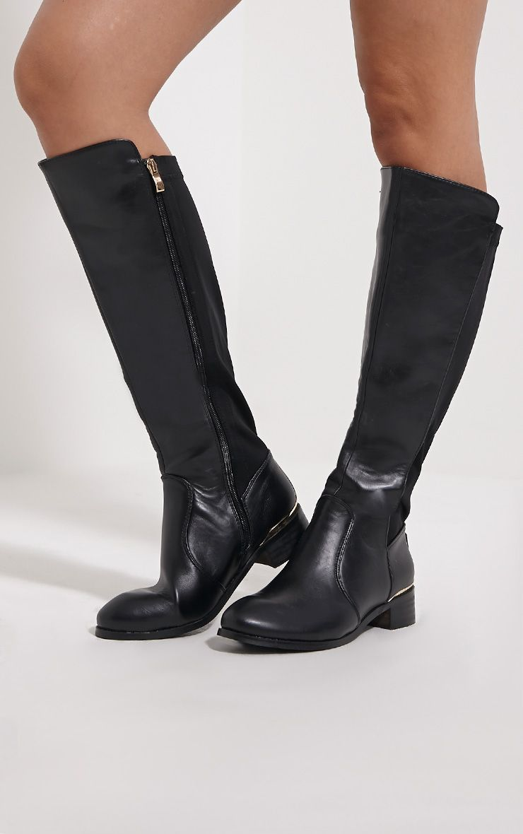 Wren Black Knee High Flat Boots 1
