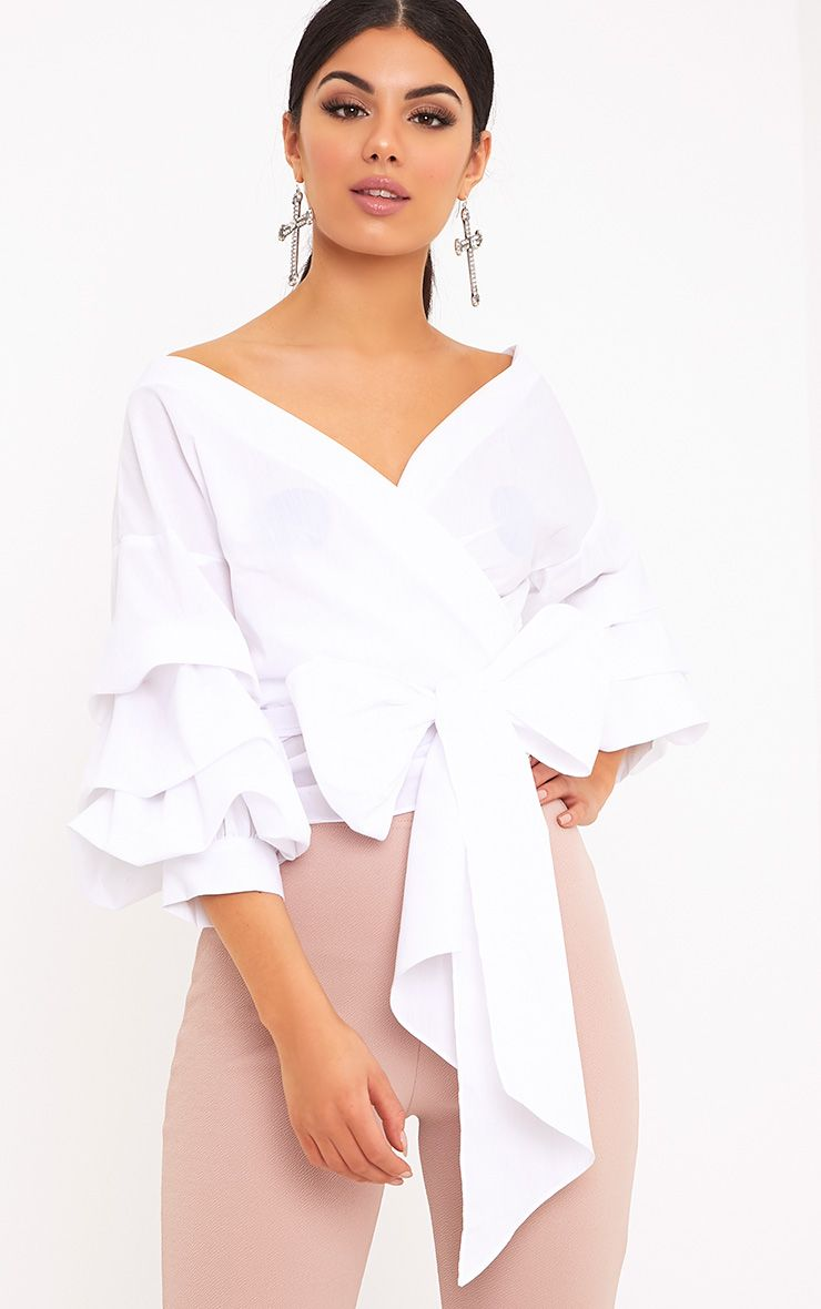 Marlow White Oversized Ruffle Sleeve Low Shoulder Shirt 1