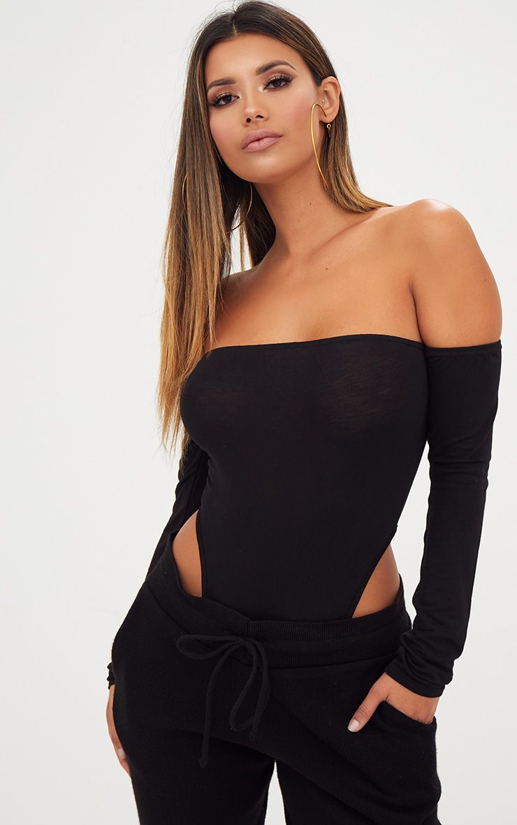 Black Bardot High Leg Longsleeve Thong Bodysuit