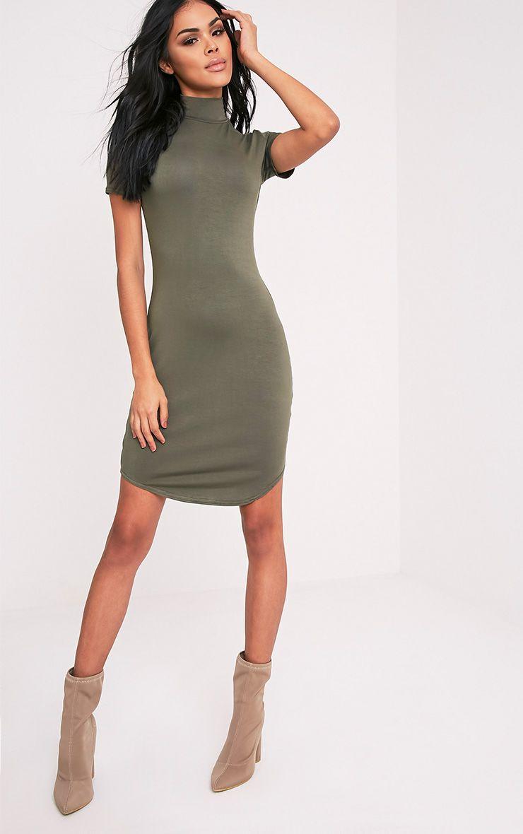 Alby Khaki Cap Sleeve Curve Hem High Neck Dress 1