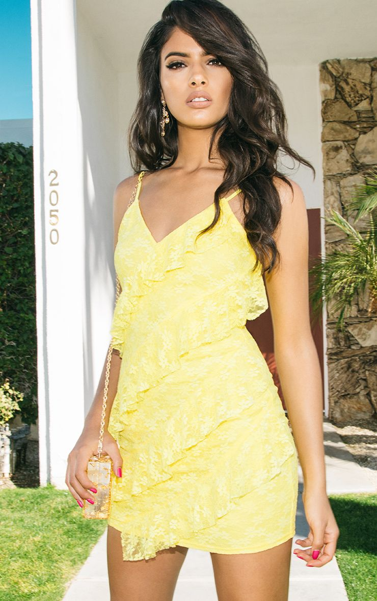 Brittany Yellow Strappy Lace Frill Bodycon Dress