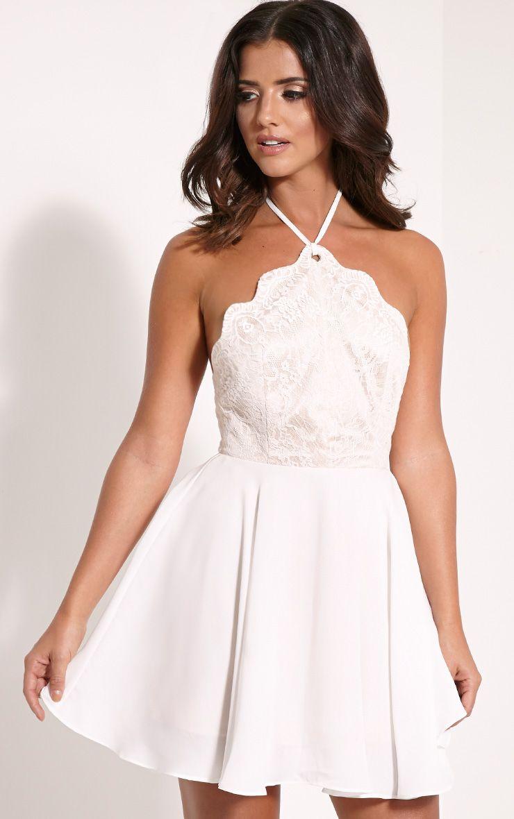 Luella Cream Lace Halterneck Skater Dress 1