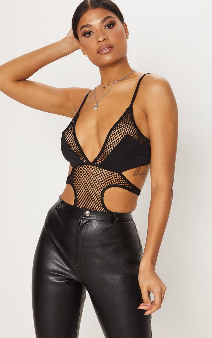 Black Fishnet Panel Cut Out Thong Bodysuit
