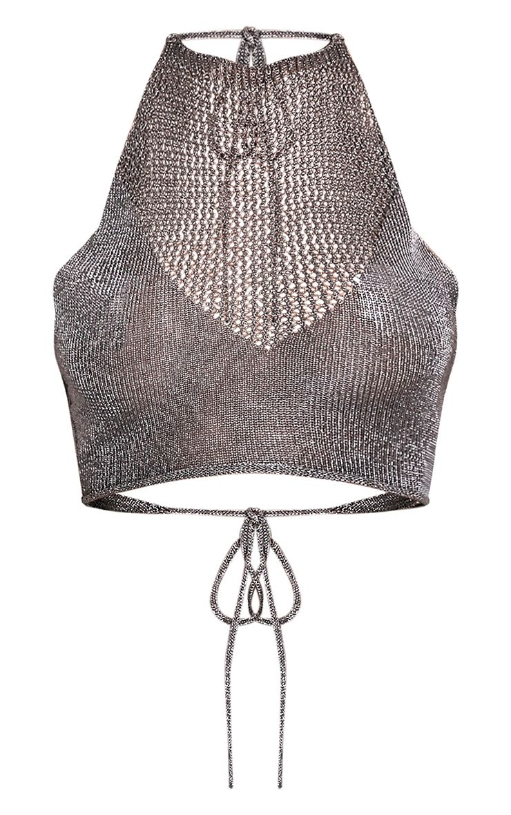 Nubia Gunmetal Metallic Crop Top 3