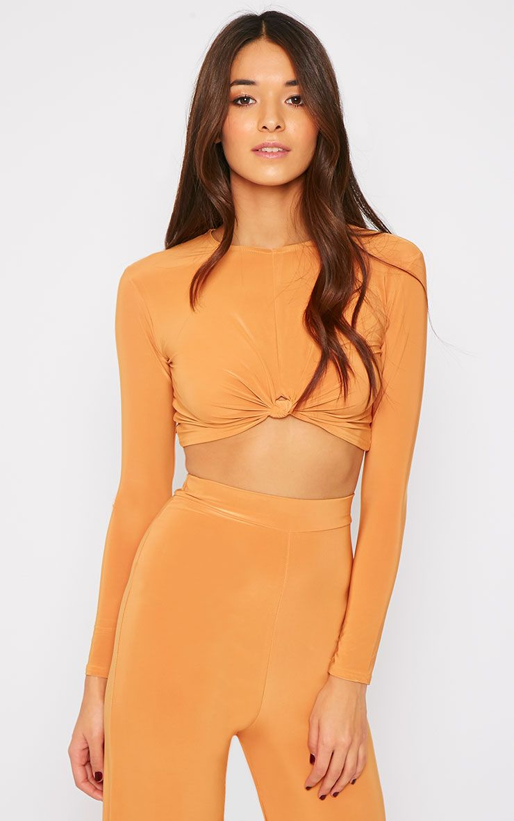 Zafia Mustard Knot Front Crop Top  1