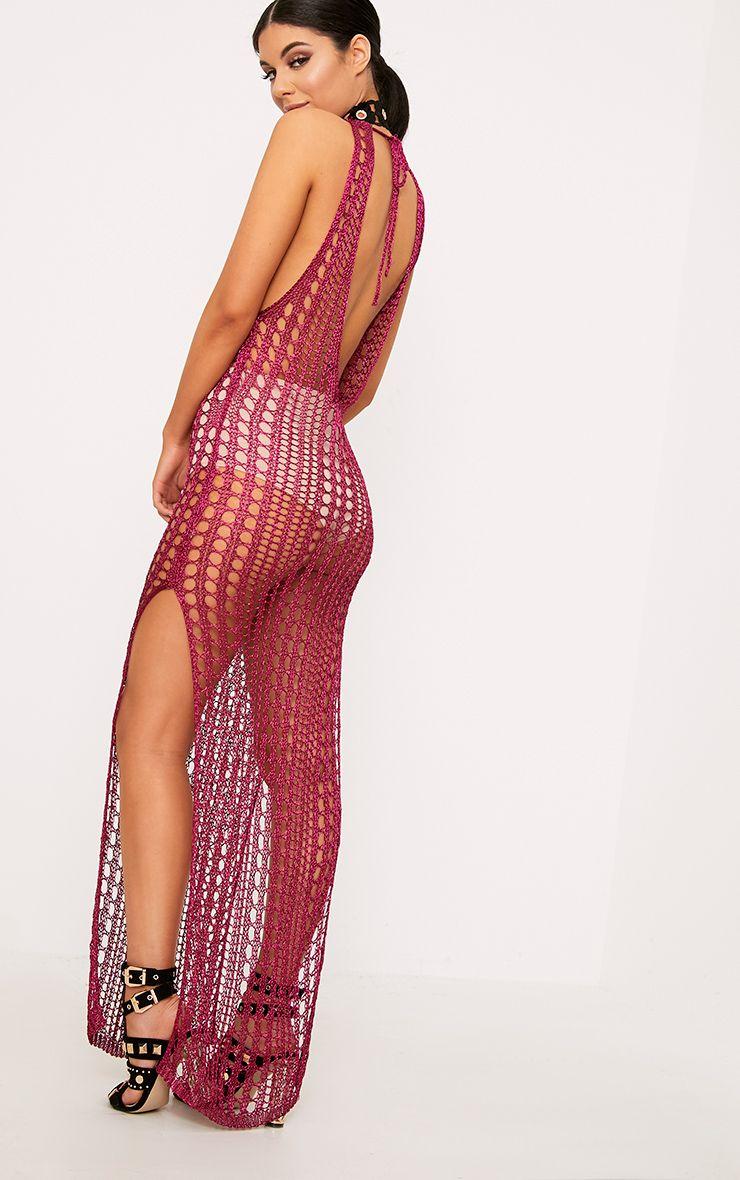Elissa Bright Pink Metallic Open Knit Maxi Dress