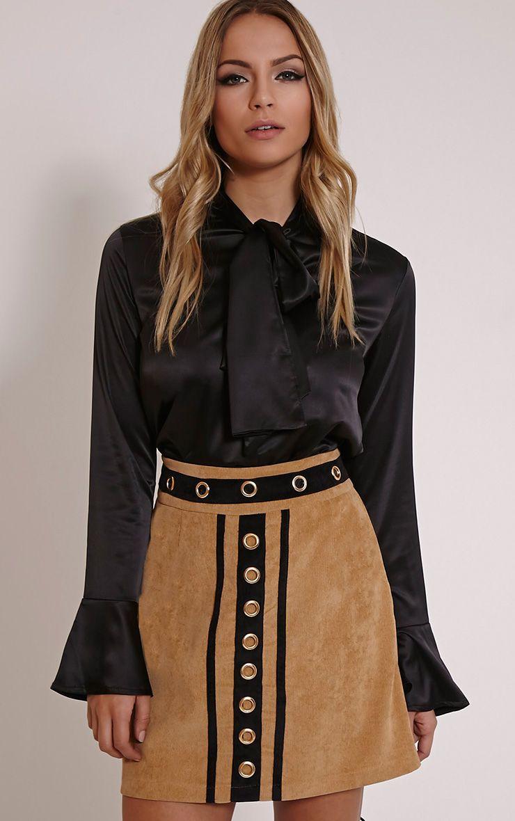 Bronte Tan Eyelet Detail Chord Mini Skirt 1