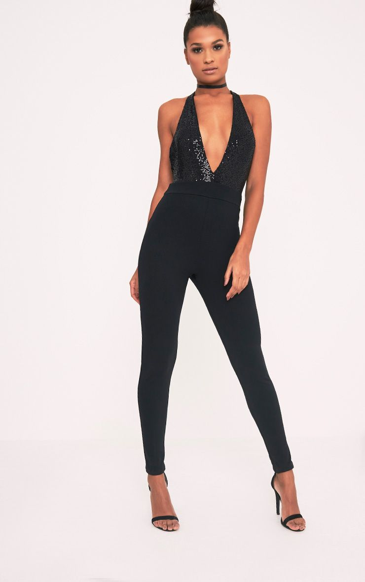 Telisa Black Sequin Top Jumpsuit