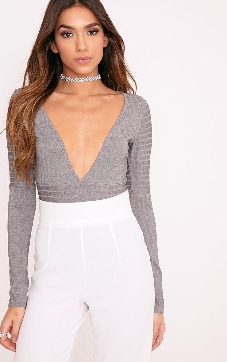 Sophy Grey Slinky Shimmer Stripe Plunge Thong Bodysuit