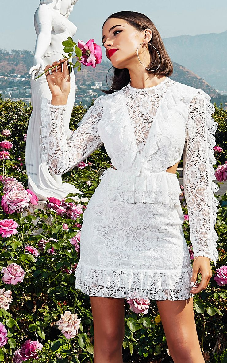 White Lace Long Sleeve Ruffle Detail Bodycon Dress