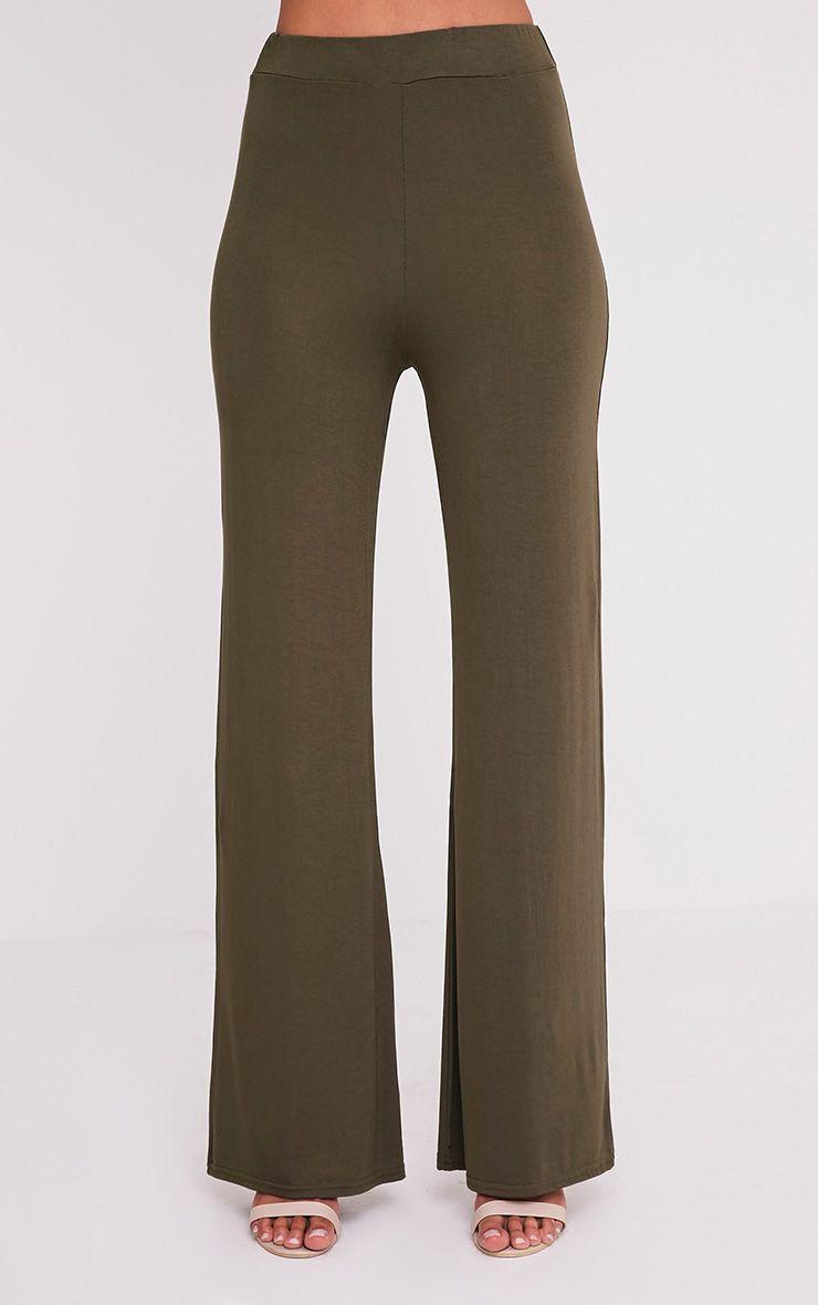 Basic Khaki Jersey Wide Leg Trousers 2