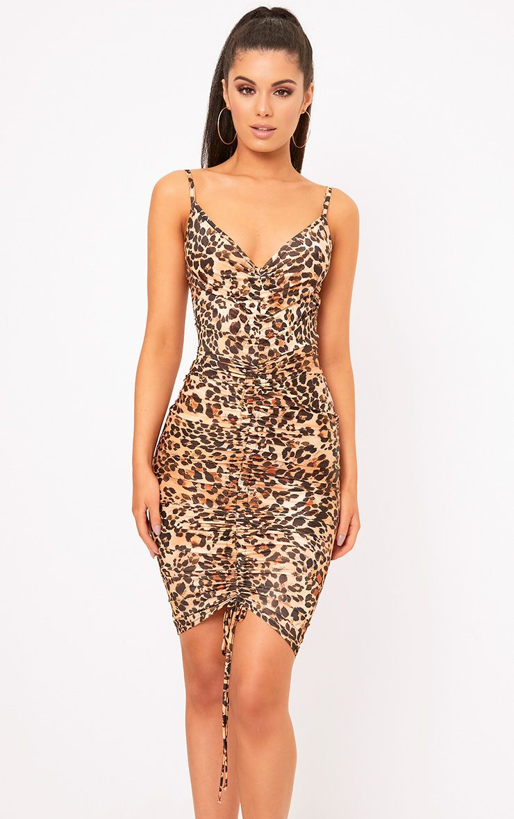 Leopard Print Strappy Plunge Ruched Front Bodycon Dress