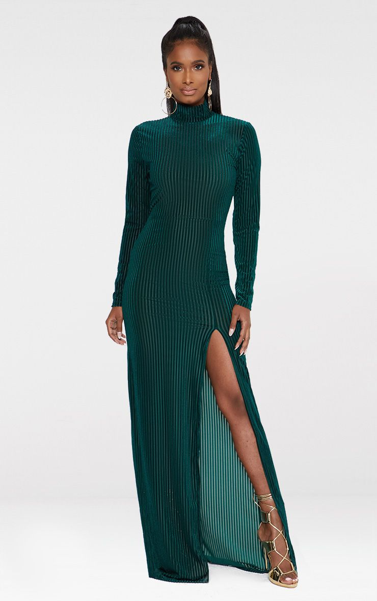 Emerald Green High Neck Long Sleeve Extreme Split Maxi Dress