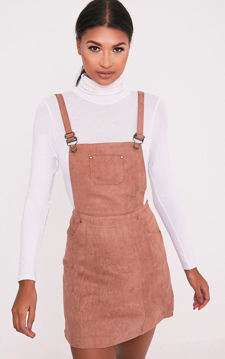 Lumie Tan Faux Suede Pinafore Dress