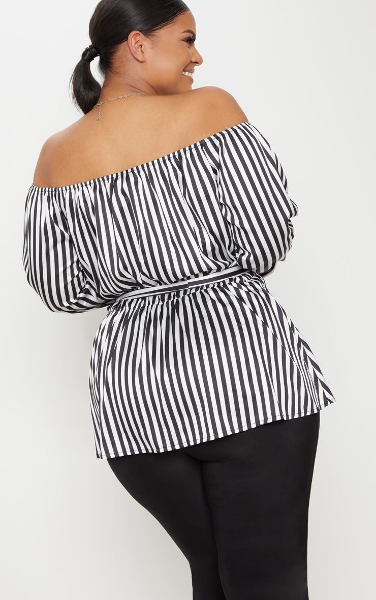 Plus Black Striped Bardot Tie Waist Blouse Pretty Little Thing Sale Best Sale Free Shipping Footlocker Discount Very Cheap Many Kinds Of Cheap Price nY2i6JYZ
