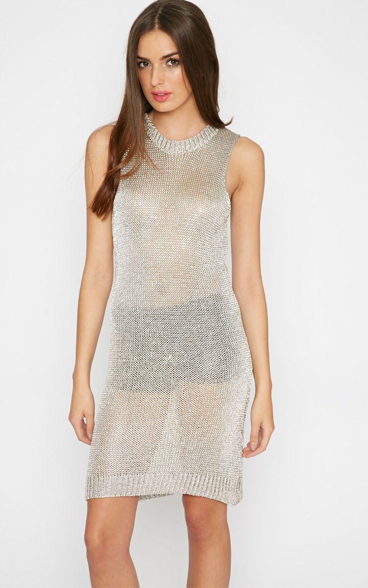 Della Champagne Knitted Vest Dress 1