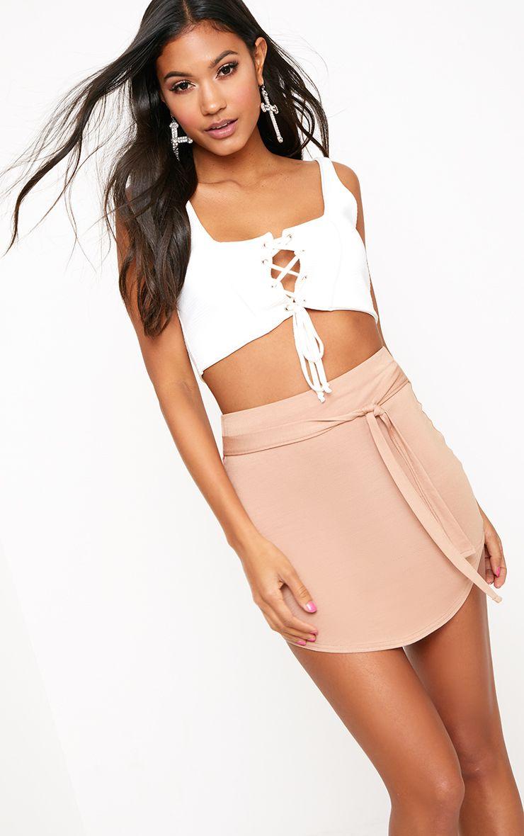 Camel Tie Belt Curve Hem Mini Skirt