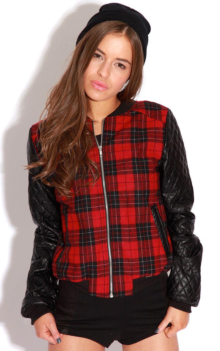 Allana Tartan Print Bomber Jacket With Leather Padded Sleev