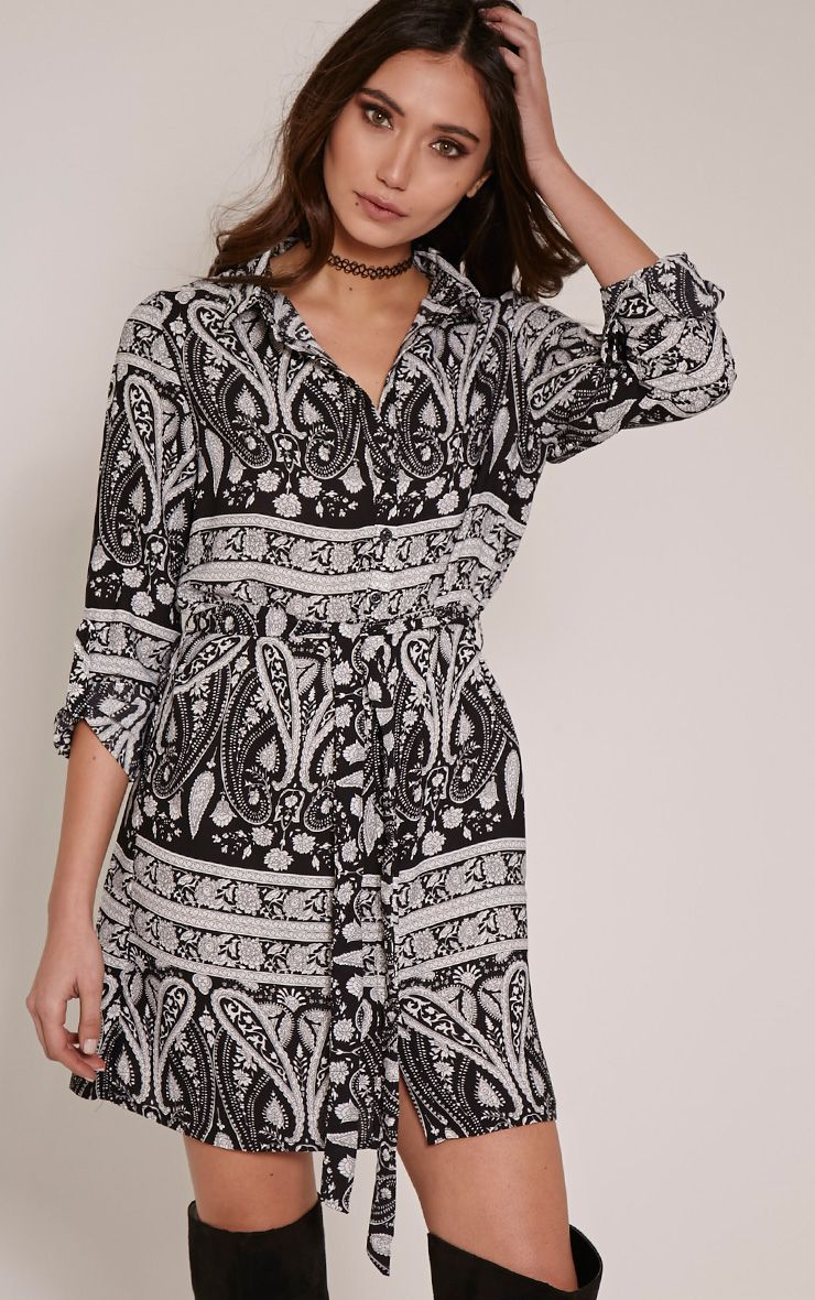 Hetty Monochrome Paisley Print Shirt Dress 1