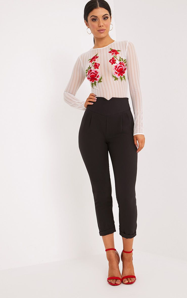 Petite Elenor Black High Waisted Tapered Trousers