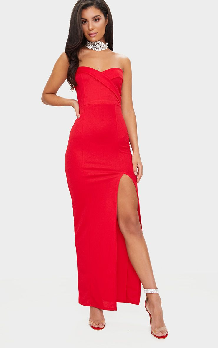 Red Bandeau Folded Detail Extreme Split Maxi Dress