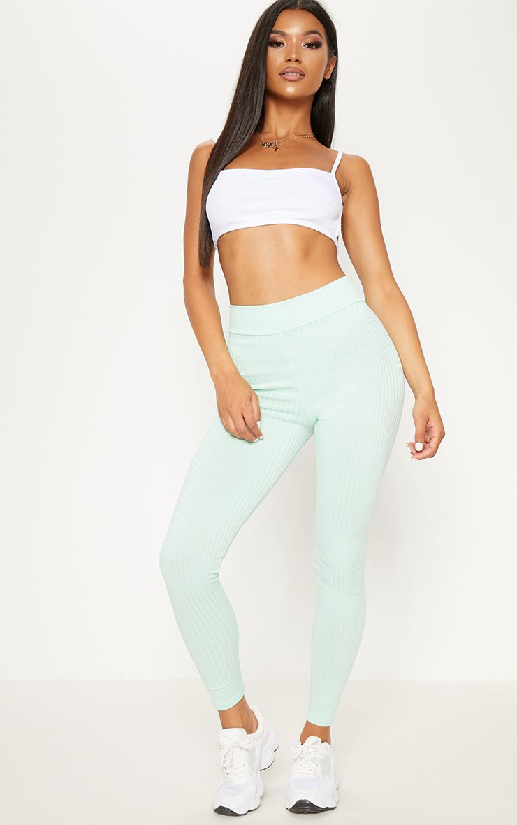 White Ribbed High Waisted Legging