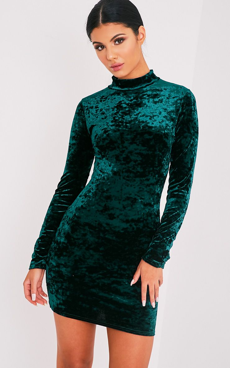 Karsia Emerald Green Velvet High Neck Ruched Bodycon Dress 1
