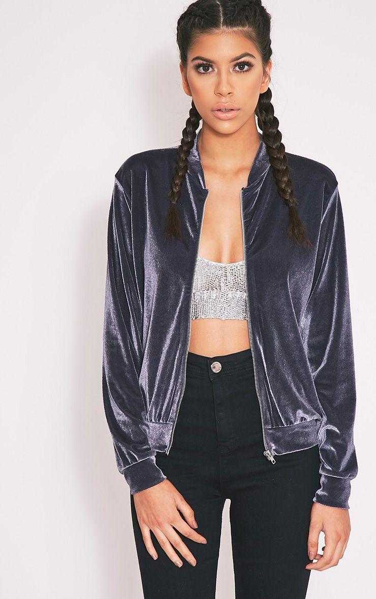 Samirah Grey Velvet Bomber Jacket